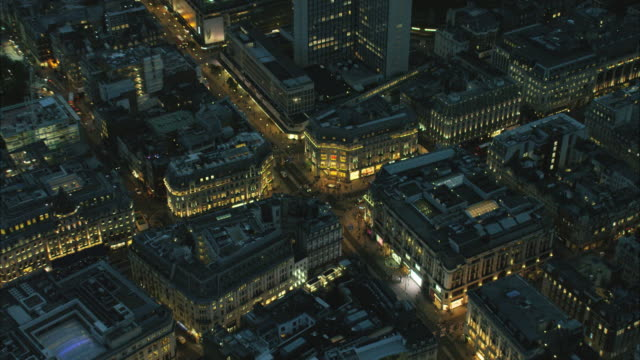 aerial night view of oxford street london uk - oxford street london stock videos and b-roll footage