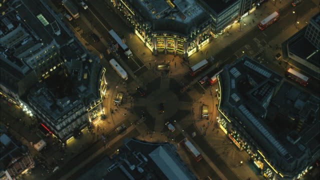 aerial night view of oxford street london uk - london england stock-videos und b-roll-filmmaterial