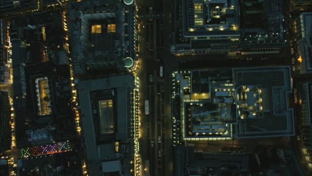 Aerial night view of Regent Street London UK