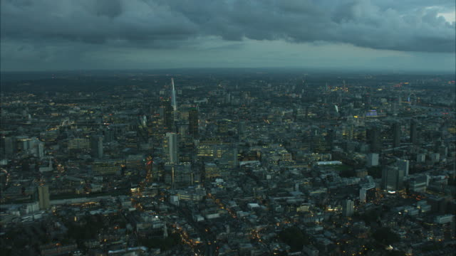 Aerial night view of Shard Building London UK