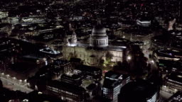 Aerial Night View of St. Paul's Cathedral in London 4K