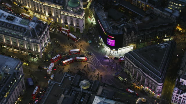 aerial night view piccadilly circus evening traffic london - advertisement stock videos & royalty-free footage