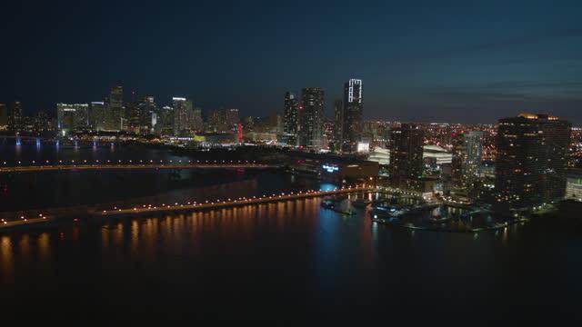 aerial night view port of miami florida usa - macarthur causeway bridge stock videos & royalty-free footage