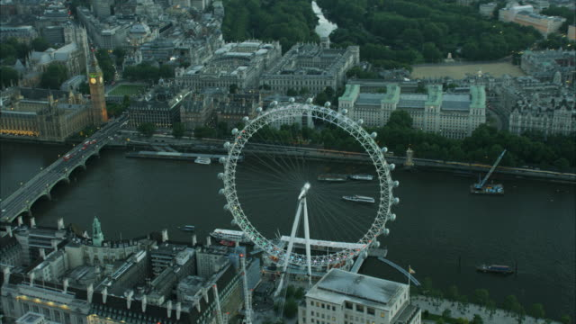 aerial night view river thames london eye uk - aircraft point of view stock videos & royalty-free footage