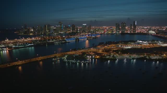 aerial night view watson island park florida usa - macarthur causeway bridge stock videos & royalty-free footage