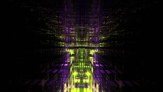 vídeos y material grabado en eventos de stock de aerial nighttime 3d smart city flyover - brightly lit