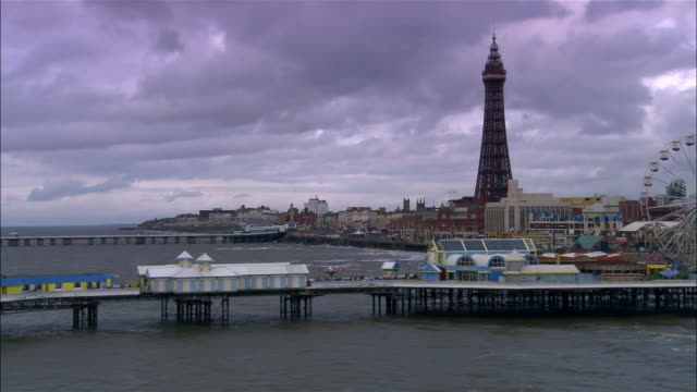aerial north pier and blackpool tower/ blackpool, england - blackpool stock-videos und b-roll-filmmaterial
