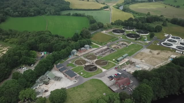 """aerial northumbrian water sewerage treatment plant in durham - """"bbc news"""" stock videos & royalty-free footage"""
