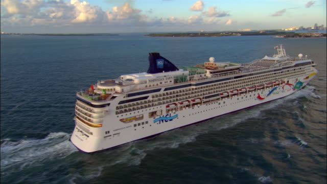 "aerial ""norwegian dawn"" cruise ship/ miami - cruising stock videos & royalty-free footage"