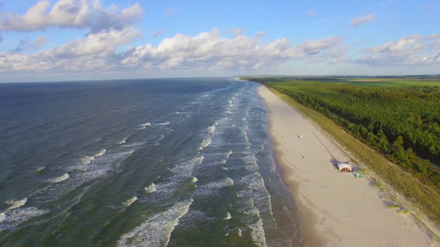 aerial ocean coastline - carolina del sud video stock e b–roll