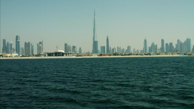 Aerial Ocean Dubai city Skyline Burj Khalifa Skyscraper