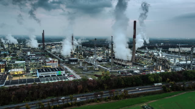Aerial of a Chemical Plant - Petrochemical Industry