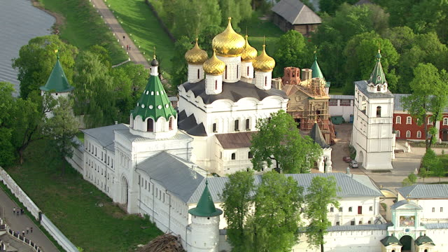 aerial of a church next to volga river. russia - onion dome stock videos and b-roll footage