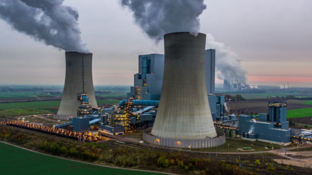 aerial of a coal fired power station - coal stock videos & royalty-free footage