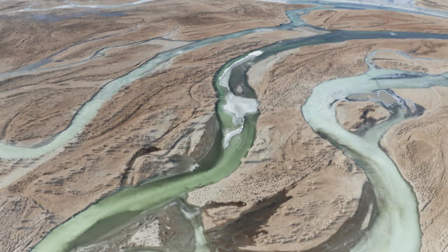 aerial of a frozen river hovd in western mongolia. - river stock videos & royalty-free footage