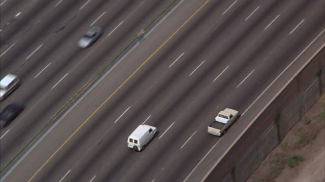 Aerial of a lightly traveled Los Angeles freeway.