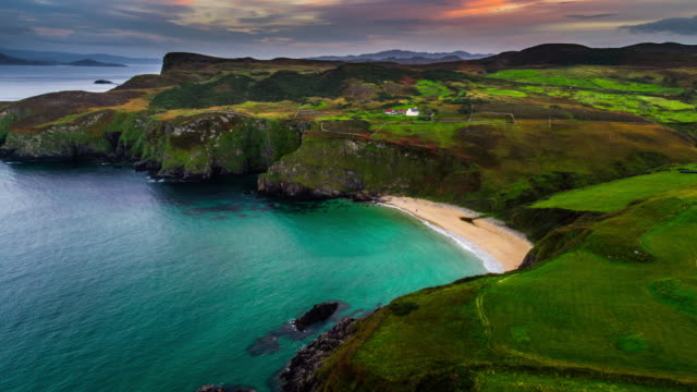 Aerial of a lonely beach at the coastline of Ireland, County Donegal