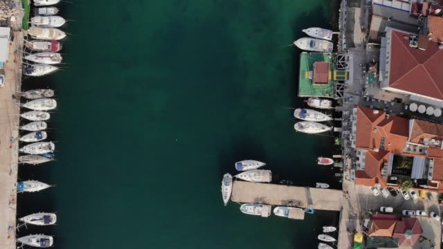 Aerial of a Marina in a Sunny Day