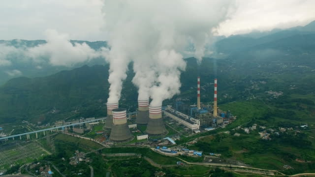 aerial of a power station,guizhou,china. - oil refinery stock videos & royalty-free footage