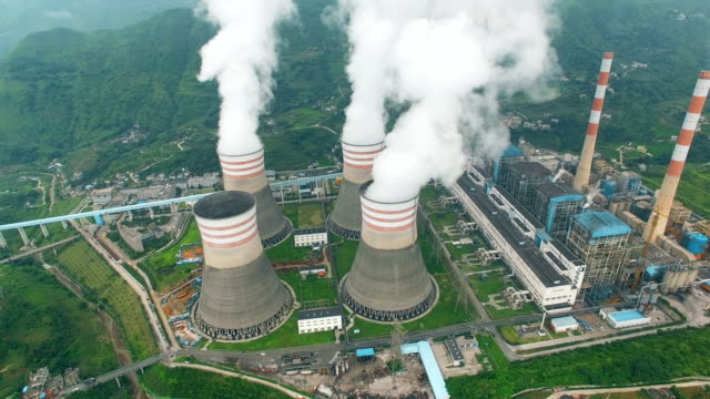 aerial of a power station,guizhou,china. - fossil fuel stock videos & royalty-free footage