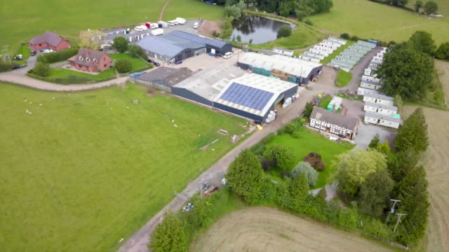 aerial of a s green farm, a vegetable producer in herefordshire, where there has been a spike of coronavirus cases amongst the farm workers, with 200... - herefordshire stock videos & royalty-free footage