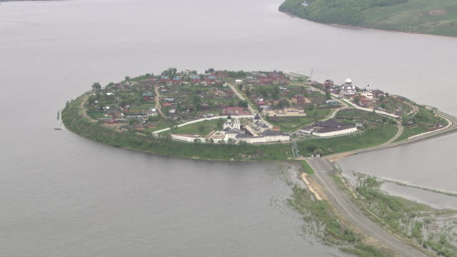 Aerial of a Village on an island in the Volga