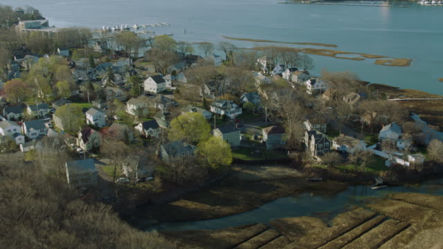 aerial of adams shore in quincy ma - massachusetts stock-videos und b-roll-filmmaterial