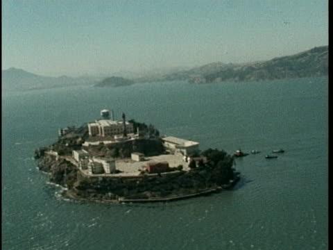 aerial of alcatraz on sunny day - san francisco bay stock videos & royalty-free footage
