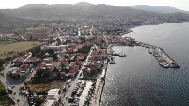 aerial of an aegean town - izmir stock videos & royalty-free footage