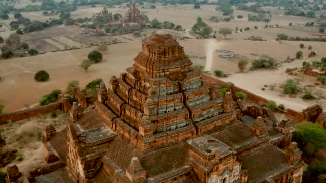 aerial of ancient temple - bagan stock videos & royalty-free footage