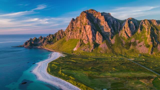 Aerial of Andoya coastline, Lofoten Islands in Norway