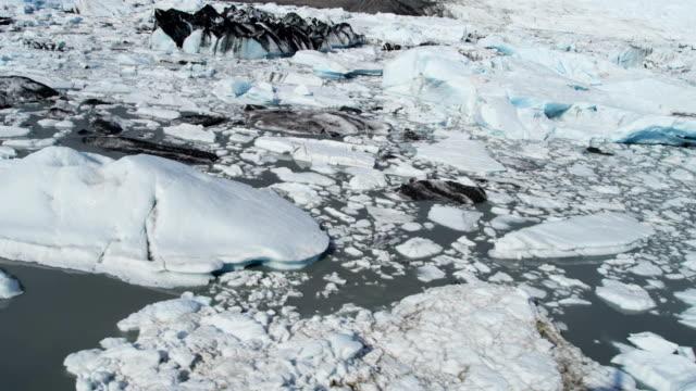 aerial of arctic glacier landscape alaska usa - polarklimat bildbanksvideor och videomaterial från bakom kulisserna