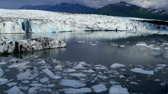 aerial of arctic glacier landscape alaska usa - clima polare video stock e b–roll
