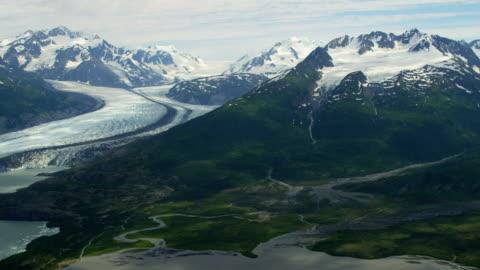 aerial of arctic glacier landscape alaska usa - columbia center stock-videos und b-roll-filmmaterial