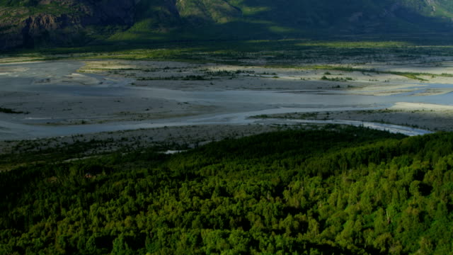 aerial of arctic glacier landscape alaska usa - extreme terrain stock videos and b-roll footage