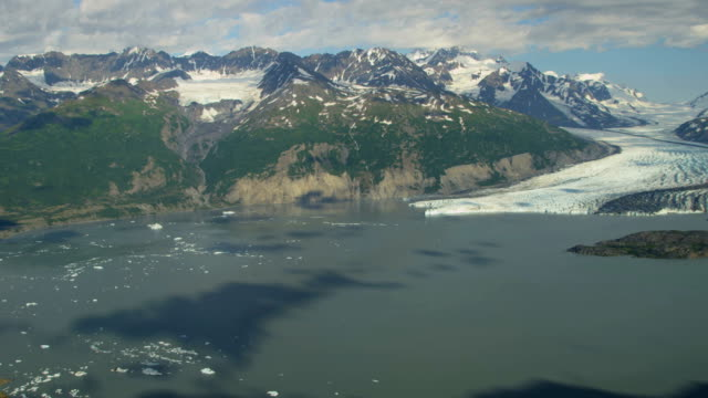 aerial of arctic glacier landscape alaska usa - columbia center stock videos & royalty-free footage