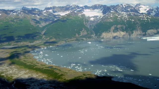 aerial of arctic glacier landscape alaska usa - columbia glacier stock videos & royalty-free footage