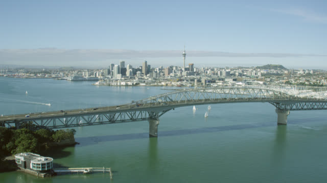 Aerial of Auckland City and Auckland Harbour Bridge