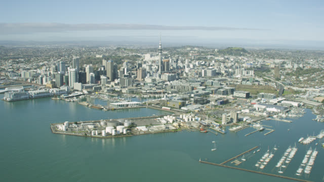aerial of auckland city and cbd - harbour stock videos & royalty-free footage