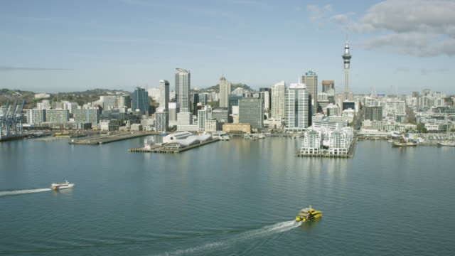 aerial of auckland city and cbd - auckland ferry stock videos & royalty-free footage
