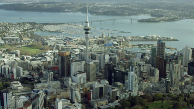 aerial of auckland city - new zealand stock videos & royalty-free footage