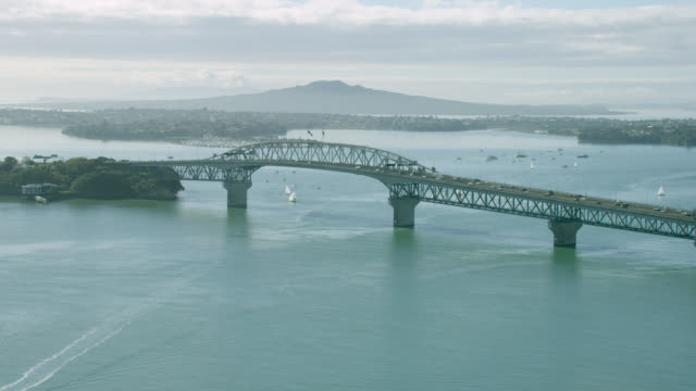 Aerial of Auckland Harbour Bridge and Rangitoto Island.