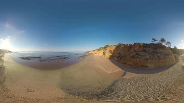 aerial of beach front, portugal - 360 video stock videos & royalty-free footage