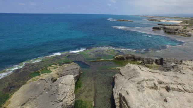 aerial of beach of dor (tantura), on the coast of mt carmel. it is part of the marine natural reserve of dor-habonim - dor stock videos & royalty-free footage