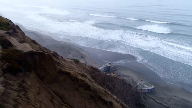 aerial of beach - black sand stock videos & royalty-free footage