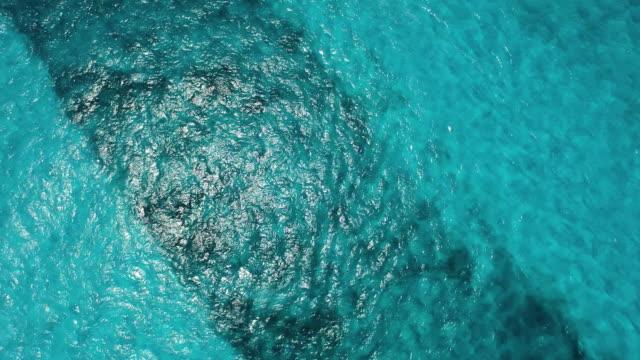 Aerial of beautiful clear blue ocean water