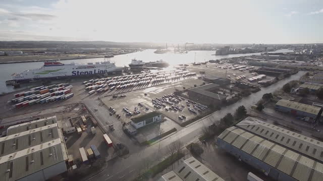 aerial of belfast port - passenger ship stock videos & royalty-free footage