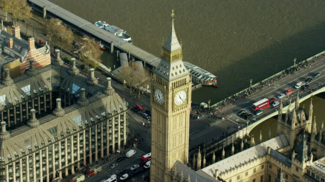 Aerial of Big Ben and Houses of Parliament