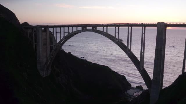 aerial of bixby bridge - arch bridge stock videos and b-roll footage