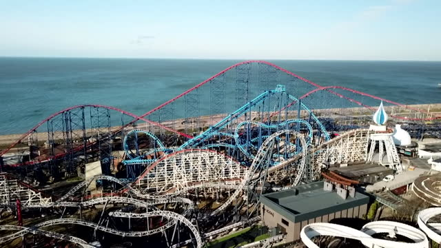 aerial of blackpool pleasure beach - coastal feature stock videos & royalty-free footage